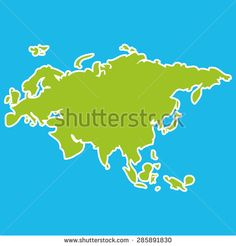 Eurasia map green continent  on blue background. Vector