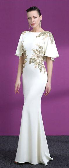 d34653515fc robe de soirée blanche sirène appliqué de dentelle dorée