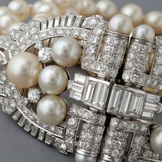 Antique Art Deco Platinum Diamond and Pearl Bracelet