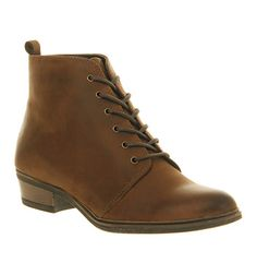 Office Blast Off Lace Up Brown Leather - Ankle Boots