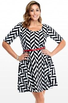 Plus Size Contrast Line Dress