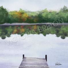 """Dockside - 8"""" x 8"""" Digital Painting Print - cottage painting - dock print - lake poster - cottage wall decor - relaxing print - summer print on Etsy, $37.60"""