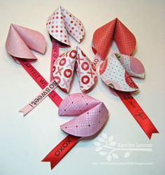DIY Valentine's Day Fortune Cookies. From Paper Therapy here.Video tutorial (so simple) and template for box (but I'd get my Chinese takeout boxes from the bridal section at the Dollar Store) here.