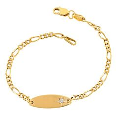 Fremada 14k Yellow Gold Cubic Zirconia Baby ID Bracelet