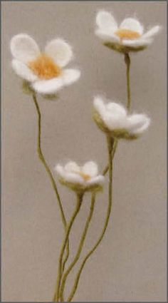 Felted wire stemmed flowers