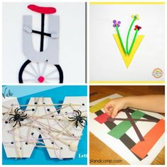 These letter of the week crafts give young kids a fun way to learn what sounds to associate with what letter. All the letters in one place! Alphabet Crafts, Alphabet Art, Letter A Crafts, Alphabet Activities, Preschool Alphabet, Baby Activities, Learning Activities, Preschool Writing, Kindergarten Art