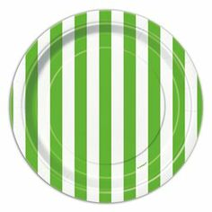 Lime Green Striped Dessert Plates 8ct - 325053 | Party-ify! #stripes #greenstripes #dessertplates #partysupplies