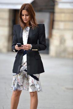 Christine Centenera in a Balmain blazer, Prabal Garung Dress and Dior Homme watch.