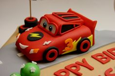 Lightning McQueen Cake Topper by BeautifulKitchen on Etsy, $50.00