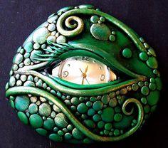 Dragon Eye Polymer clay Wearable Art Pin by Artist Christina A Kapono ...