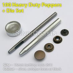 100 Heavy duty poppers (Snap fasteners, Press studs, Rivets) + Tool set Punch die, for Sewing, craft.  http://r.ebay.com/2X9gVc
