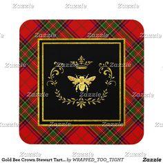 Gold Bee Crown Stewart Tartan Coaster