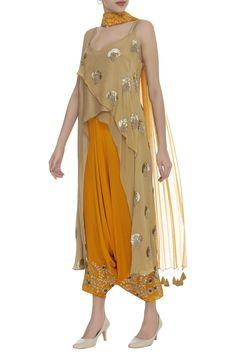 Buy Embroidered draped dhoti pants by Rriso at Aza Fashions Pakistani Party Wear, Indian Party Wear, Indian Wear, Indian Dresses, Indian Outfits, Western Dresses, Stylish Dresses, Fashion Dresses, Bandhani Dress