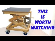 Homemade Wooden Lifting Table — by 'Marius Hornberger'. We are now ready to start cutting the wood into smaller pieces. Table Élévatrice, Lift Table, Homemade Lathe, Homemade Tools, Homemade Bar, Diy Projects Plans, Wood Projects, Used Woodworking Tools, Woodworking Projects