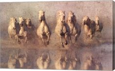 buy Feng Shui painting of eight magnificent horses running on water at www.explosionluck.com
