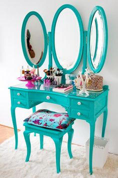 My girls have a vanity in their room like this. It's an old yellow this color would be amazing!