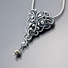 Fine Silver and Pyrite Pendant Evenstar by sarahndippity on Etsy. $115.00 USD, via Etsy.