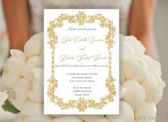 Printable Wedding invitation template Gold Victorian frame by Oxee, $5.00