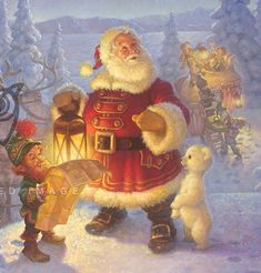 "Scott Gustafson / ""Checking It Twice"" Christmas Colors, Christmas Art, Christmas Holidays, Christmas Decorations, Anti Santa, Santa And Reindeer, Vintage Christmas Images, Operation Christmas, Kids Story Books"