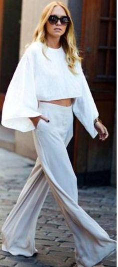 White&bright. Long sleeve cropped top and palazzo trousers