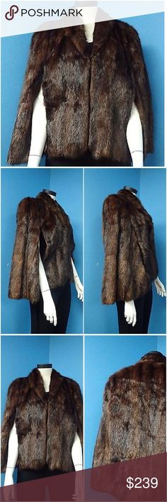 "💞Soft Real Muskrat Vintage Cape Shawl Coat 💯 Excellent Condition! REAL FUR - Fits Sz S - maybe a up to a true Sz 4. High End Quality Garment - Fur under Collar.Beautiful Soft Brown Muskrat Cape with arm slits that can be worn attached at the bottom. Clean inside and outside - perfect lining and shell - Classy & Chic. Made in the USA-Closures Hook & Eye With Pockets -  Shoulder to Shoulder 17"" Front Length 25"" Back Length 25"" morlons Jackets & Coats"