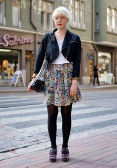 """""""I'm wearing second hand and Vagabond shoes.At the moment I like black…"""