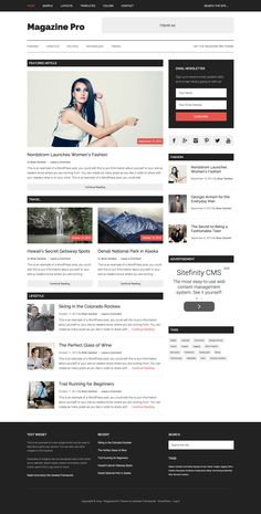 Magazine Pro by StudioPress : All rounder WordPress child theme for genesis framework, suitable for online news and magazine sites. Online Web Design, Design Web, Flat Design, Graphic Design, Website Web, Responsive Layout, Blog Layout, Premium Wordpress Themes, Web Design Inspiration