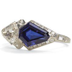 Art Deco Sapphire and Diamond Ring, c1925, England