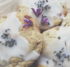 Lavender scones with a sugar glaze and some lavender flowers on top
