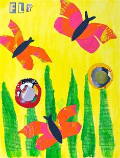 Second Grade Flying Insect Collages,with verbs....except for the kiddos who didn't make a flying insect...except for the few who chose a preposition or adjective. Haha! We are focusing on ...