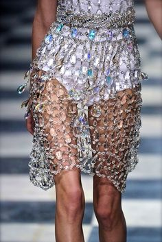 Prada S/S 2010. White high waisted swimsuit and jeweled over up. Runway fashion