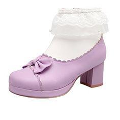 UH Damen Blockabsatz Stiefeletten Plateau Ankle Boots mit Spitze und  Reißverschluss Bequeme Süß Schleife Rockabilly Schuhe 7853cb535a