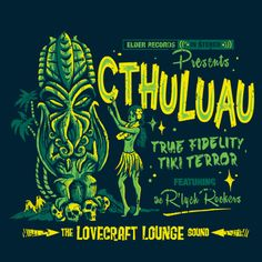 Cthulhu T-Shirt by heartjack. Show everyone that you are a fan of HP Lovecraft's Cthulhu with this t-shirt. Cthulhu in Hawaii. Design, Tiki Art, Cosmic Horror, Teefury, Cthulhu, Retro, Art, Pop Culture