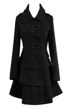 Double Breasted Multilayered Hem Coat