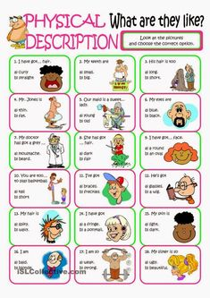 A collection of English ESL Describing people worksheets for home learning, online practice, distance learning and English classes to teach about English Resources, English Tips, English Activities, English Lessons, Learn English, Vocabulary Worksheets, English Vocabulary, English Grammar, Printable Worksheets