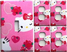 Hello Kitty Pink Hearts Girls light switch plate cover set 1&4 bedroom bathroom Kitchen wall decor room housewares by ChrisCraftiedecor on Etsy