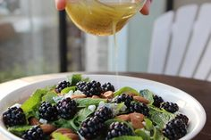 Blackberry & Mint Salad with Honey Lime Dressing by thedoctorsdaughter #Salad #Blackberry #Mint #Honey_Lime