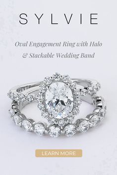 This gorgeous oval engagement ring features a 1.5 carat oval diamond center in a trendy single prong halo. Pair it with it's matching band in a mixed metal for a trendy stylish look! The total carat weight of this stunning oval halo engagement ring is 0.57 carats. Double Halo Engagement Ring, Engagement Ring Styles, Designer Engagement Rings, Small Rings, Unique Rings, Stackable Wedding Bands, Wedding Rings, Thing 1, Filigree Design