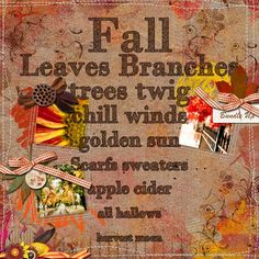 Autumn design using Giny Scraps Autumn As I See It Kit at Digiscrap Boutique.