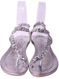 Woman Flat Gladiator Sandals Flip Flops Wedding Crystal Diamond Rhinestone Silve | eBay. :)