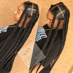 Fake hair where? 👀 knotless jumbo butt length boxbraids like? Fake Hair Braids, Big Box Braids Hairstyles, Braids With Curls, Braids With Beads, Braided Hairstyles For Black Women, African Braids Hairstyles, My Hairstyle, Protective Hairstyles, Protective Styles