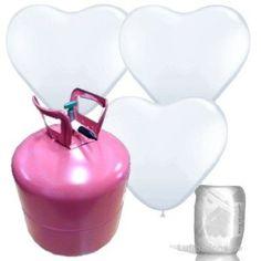 Helium Ballongas Set mit 55 weißen Herz-Luftballons ø28 cm, Ballonband und Heliumflasche: Amazon.de: 45