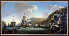 Mayflower and Speedwell in Dartmouth Harbor, by Leslie Wilcox, at Pilgrim Hall Museum in Plymouth, Massachusetts Along the Pilgrim Tr. Pilgrim Fathers, Plymouth Colony, All In The Family, My Family History, Dartmouth, May Flowers, Museum Collection, Art Oil, Picture Photo