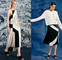 Tibi 2015 Resort Womens Lookbook Presentation - 2015 Cruise Pre Spring Fashion Pre Collection Designer Amy Smilovic - Denim Jeans Dirty Sailor Nautical Toggle Closures Lace Up Eyelets Rope Stripes Silk Wool Wide Leg Trousers Palazzo Pants Culottes Anorak Hoodie Chambray Paisley Sleeveless Shorts Crop Top Midriff Bralette Outerwear Coat Flowers Florals Accordion Pleats Halter Top Knit Sweater Jumper Curved Hem Pantsuit Drawstring Jogging Sweatpants