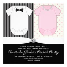 Black White Gender Reveal Party Invitations from Zazzle.com