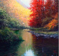 Pintura al oleo rio reflejos agua Más