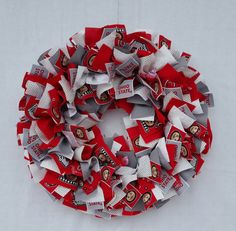 Ohio State Wreath, Fabric Wreath, Ohio State University, Wire Frame, Buckeyes, Wreaths, Black And White, Unique Jewelry, Awesome