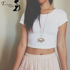 9991a0b1e5 T-Shirts Basic Stretch Women Sexy Crop Top Girl Short Sleeve T Shirt Tee  Black White Grey Vest Camisole Regata Feminina -- AliExpress Affiliate s  Pin.