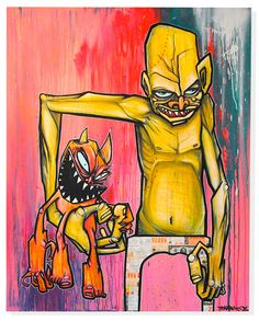 This is a piece by a graffiti artist called Ewok One.  He is amazing at using his colors to make the characters in his artwork even more alive.  In this painting, he uses bright colors to show the energy in these characters.  The contrast between the yellow/orange characters and the pink/red background is very high making the colors completely separate from each other and on two obviously separate planes.