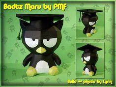 FREE download!! graduation paper craft / paper toy / gift Badtz Maru Papercraft